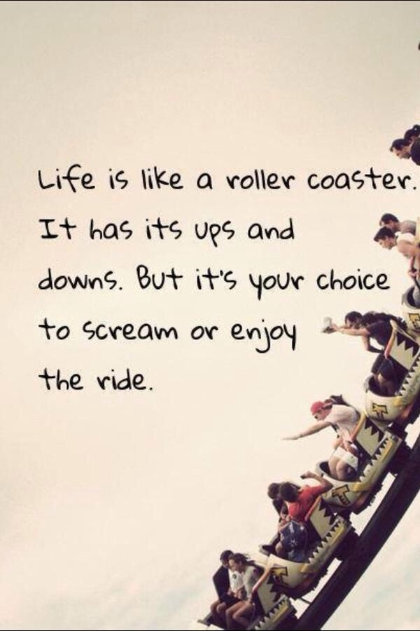Screamingly quote Life is like a roller coaster. It has its ups and downs. But it's your choice to