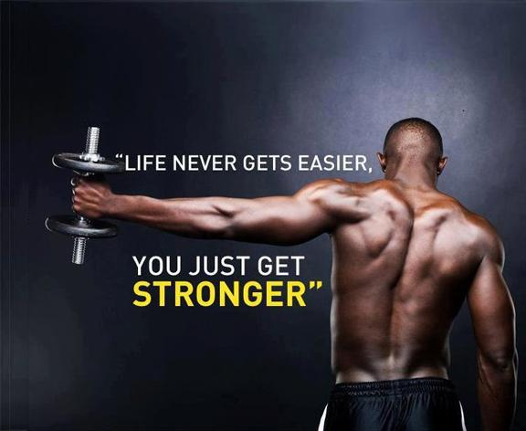 Strong quote Life never gets easier, you just get stronger.