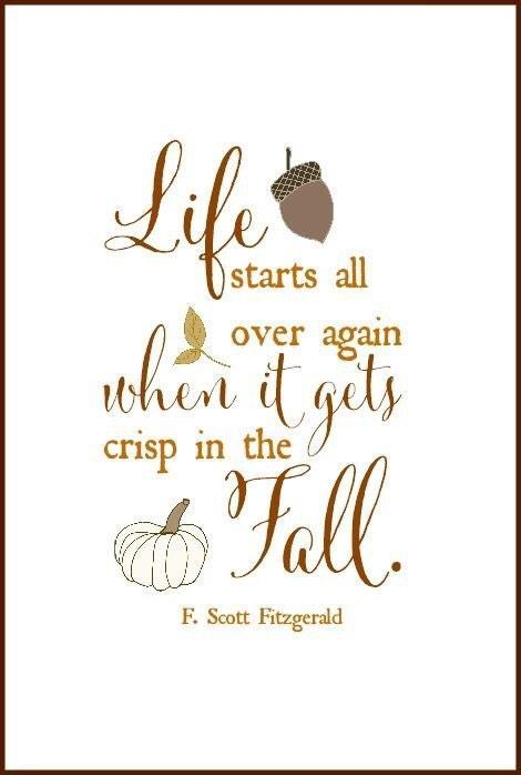 F. Scott Fitzgerald quote Life starts all over again when it gets crisp in the fall.