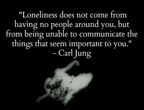 Loneliness does not come from having no people around you, but from being unable to communicate the things that seen important to you. - Carl Jung