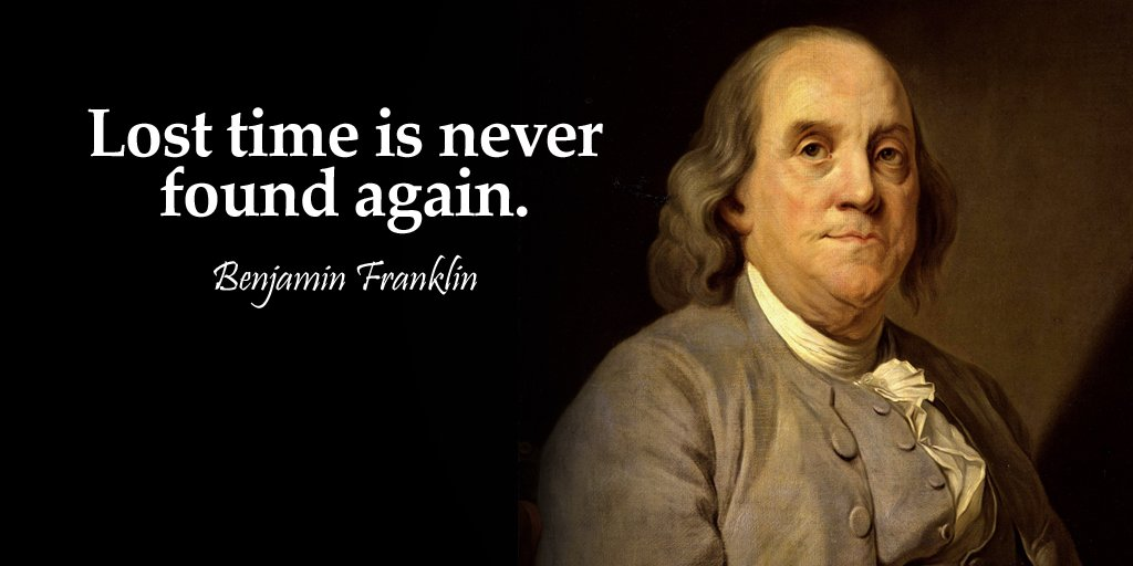 Picture quote by Benjamin Franklin about time