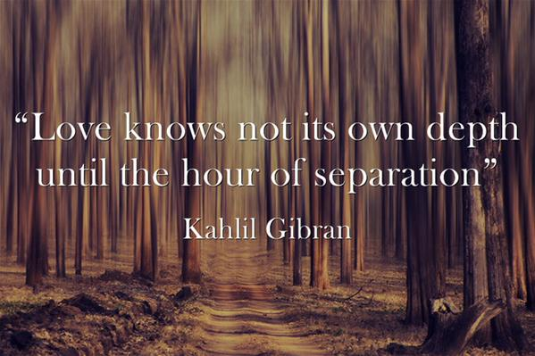 Separated quote Love knows not its own depth until the hour of separation.