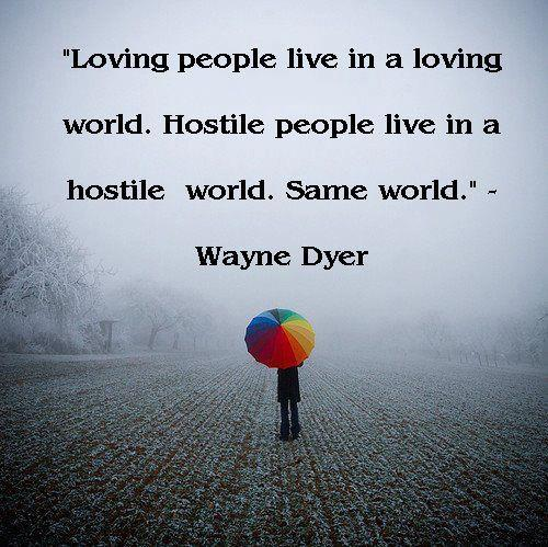 Love and hate quote Loving people live in a loving world. Hostile people live in a hostile world. Sa