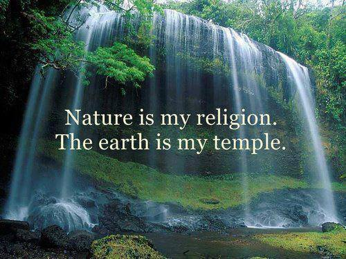 Nature is my religion. The earth is my temple. - Sayings