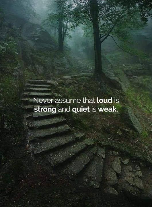 Never assume that loud is strong and quiet is weak. - Source Unknown