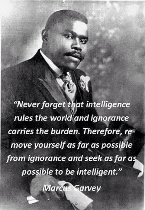 Marcus Garvey quote Never forget that intelligence rules the world and ignorance carries the burden.