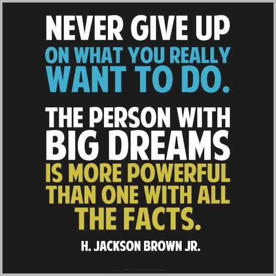 Desires quote Never give up on what you really want to do. The person with big dreams is more