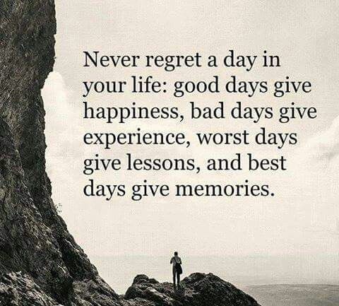 Happy life quote Never regret a day in your life: good days give happiness, bad days give experie