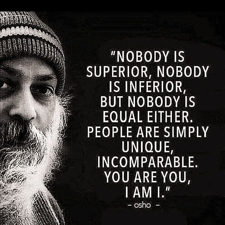 Inferiority complex quote Nobody is superior, nobody is inferior, but nobody is equal either. People are s