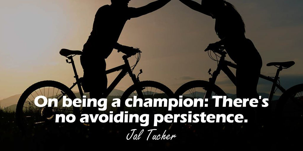 On being a champion Theres no avoiding persistence. - Jal Tucher
