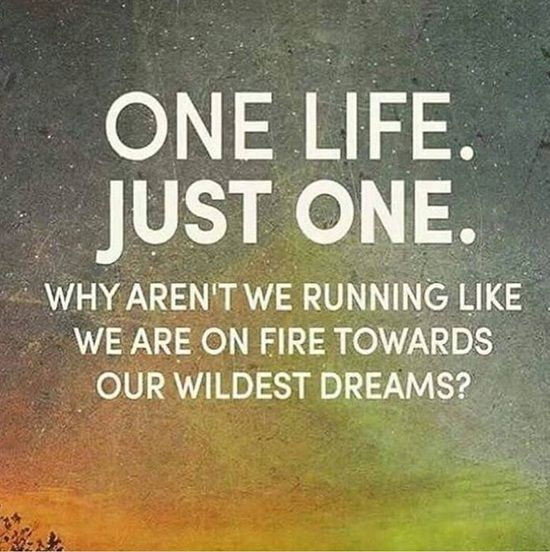 Inspirational running quote One life. Just one. Why aren't we running like we are on fire towards our wildes