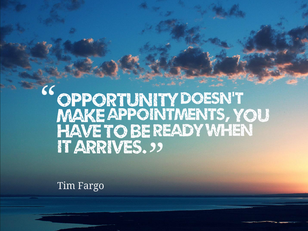Arriving quote Opportunity doesn't make appointments, you have to be ready when it arrives.