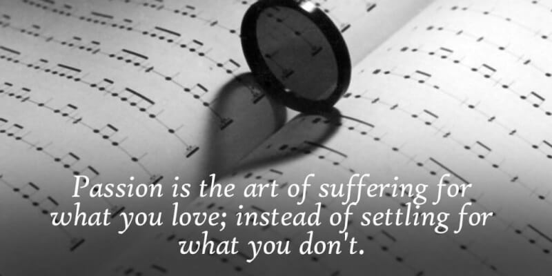 Art quote Passion is the art of suffering for what you love; instead of settling for what