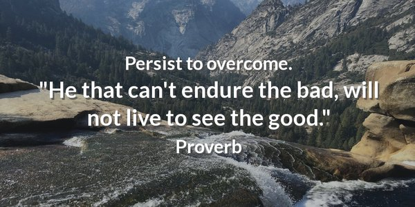 Persist to overcome. He that can't endure the bad, will not live to see the good.
