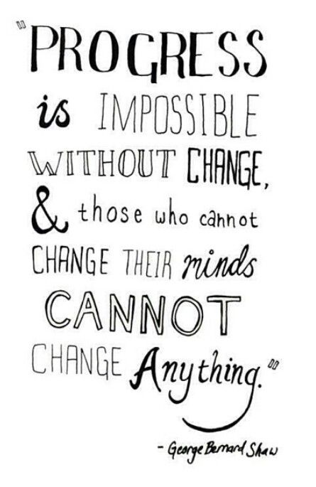 Can't change quote Progress is impossible without change and those who cannot change their minds, c