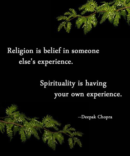 Against religion quote Religion is belief in someone else's experience. Spirituality is having your own