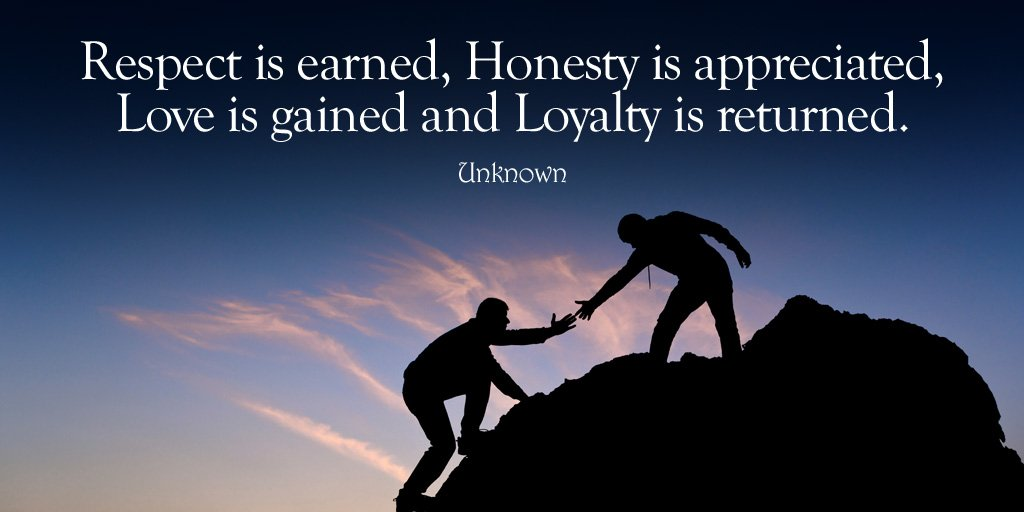 Returning quote Respect is earned, Honesty is appreciated, Love is gained and Loyalty is returne