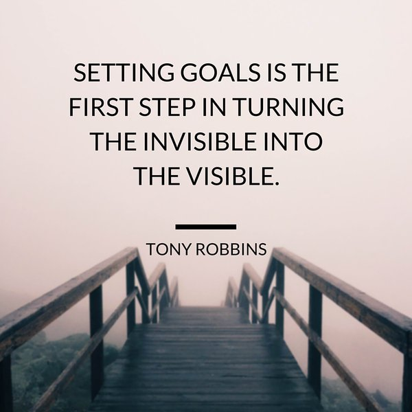 Turning quote Setting goals is the first step in turning the invisible into the visible.