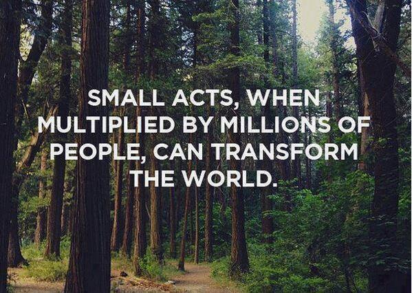 Multiplier quote Small acts, when multiplied by millions of people, can transform the world.