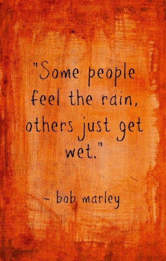 Some people feel the rain, others just get wet. - Bob Marley