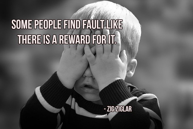Rewards quote Some people find fault like there is a reward for it.