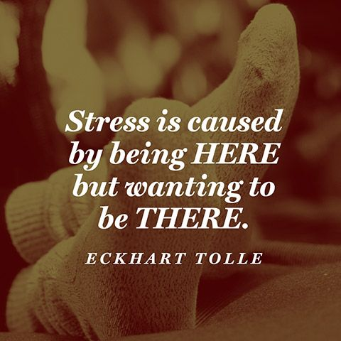 Causes quote Stress is caused by being here but wanting to be there.