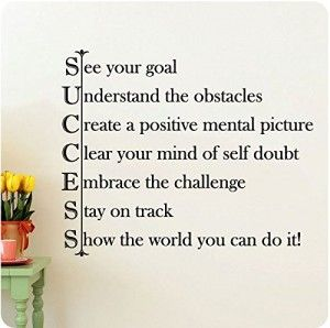 High self esteem quote Success - See your goal; Understand the obstacles; Create a positive mental pict
