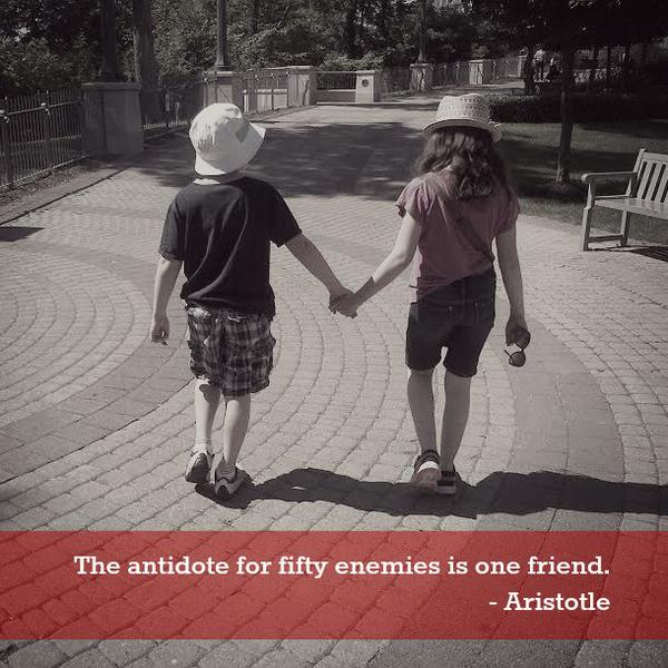 The antidote for 50 enemies is one friend. - Aristotle