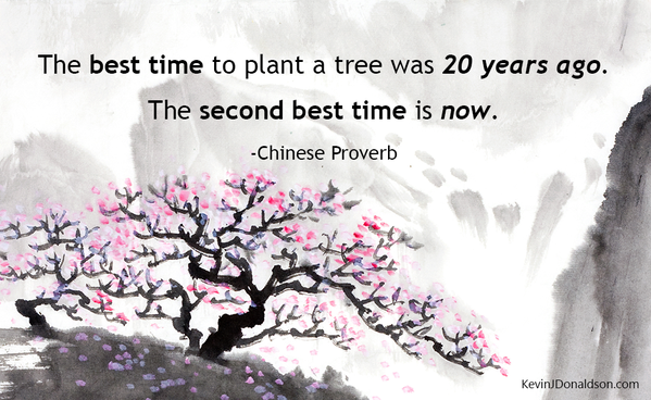 Chinese Proverbs quote The best time to plant a tree was 20 years ago. The second best time is now.