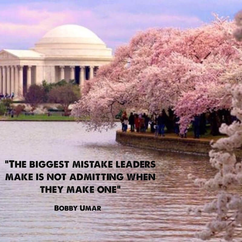 Mist quote The biggest mistake leaders make is not admitting when they make one.