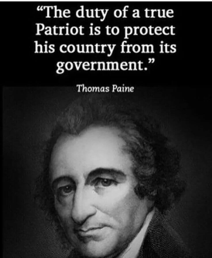 Mother country quote The duty of a true Patriot is to protect his country from its government.