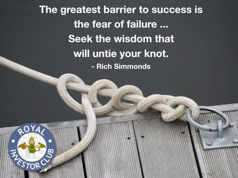 Knotted quote The greatest barrier to success is the fear of failure ... Seek the wisdom that