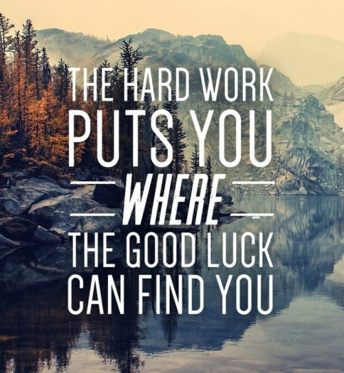 Puts quote The hard work puts you where the good luck can find you.