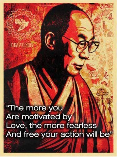 Motivate quote The more you are motivated by love, the more fearless and free your action will