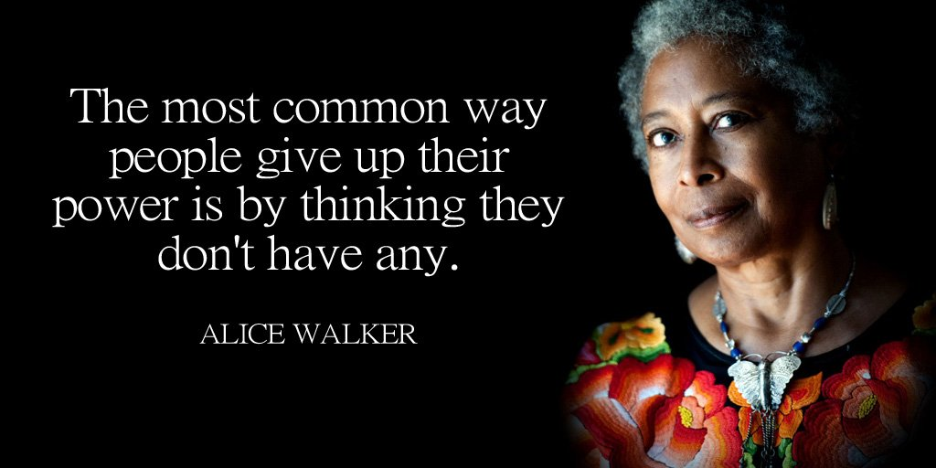 The most common way people give up their power is by thinking they dont have any. - Alice Walker