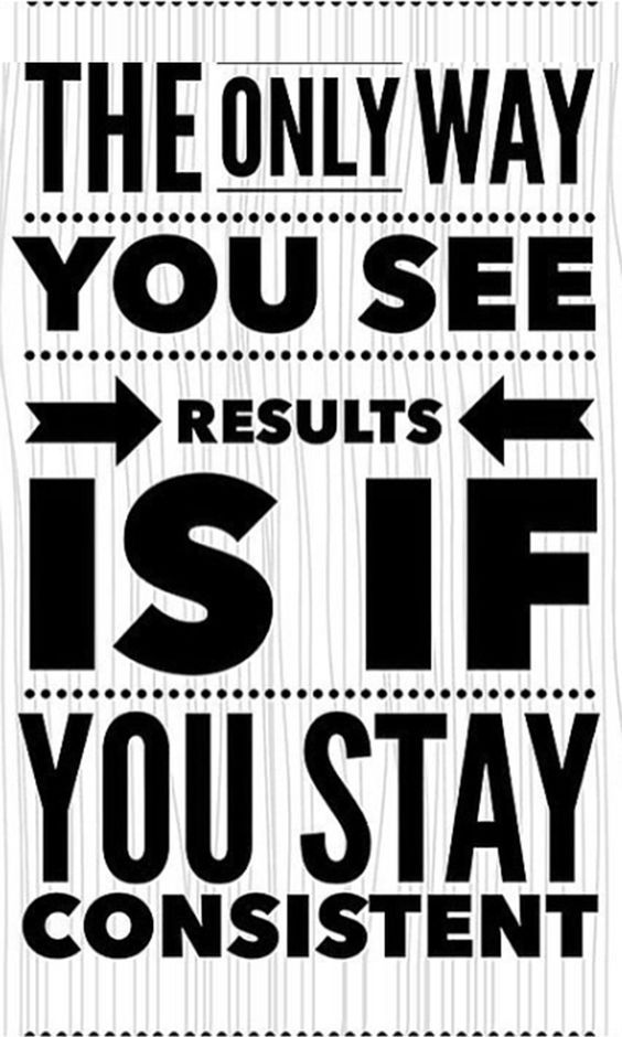 Achiever quote The only way you see results is if you stay consistent.