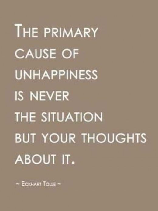 Unhappy quote The primary cause of unhappiness is never the situation but your thoughts about