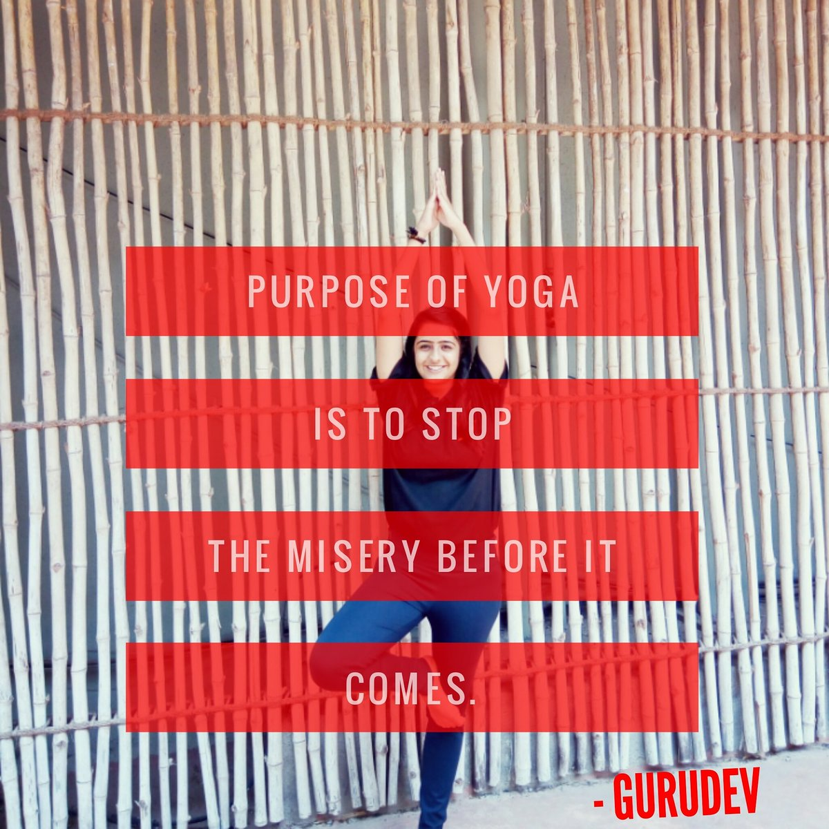 Yoga quote The purpose of  is to stop the misery before it comes.