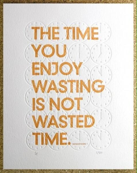 Don't waste your time quote The time you enjoy wasting is not wasted time.