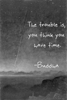 Trouble quote The trouble is, you think you have time.