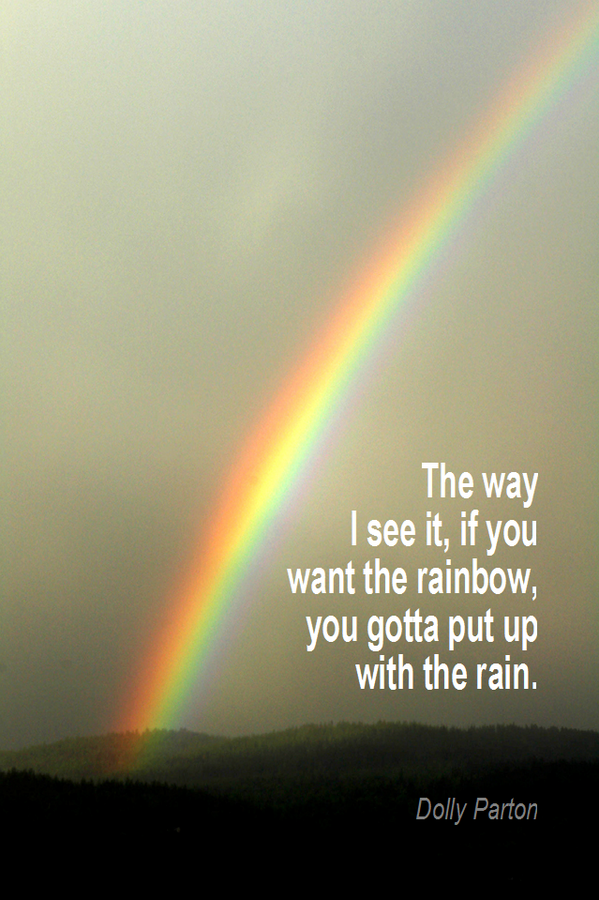 Rain quote The way I see it, if you want the rainbow, you gotta put up with the rain.