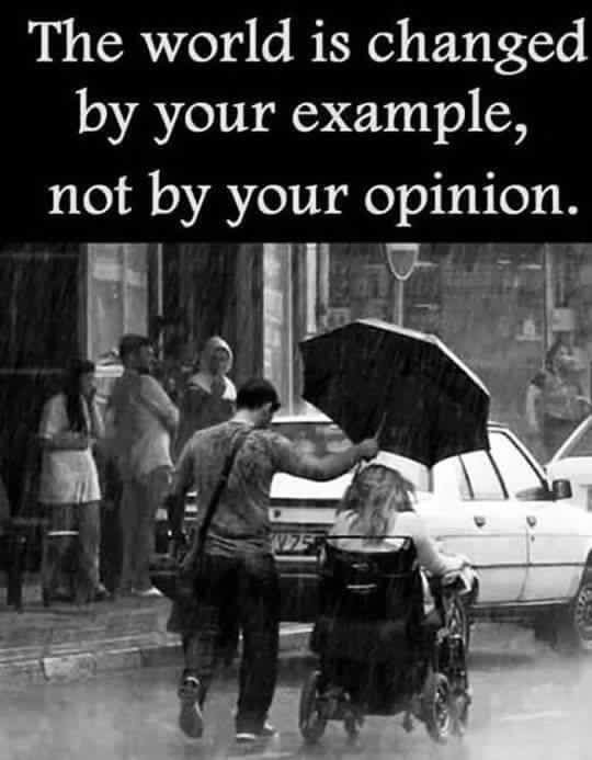 Can't change quote The world is changed by your example, not by your opinion.
