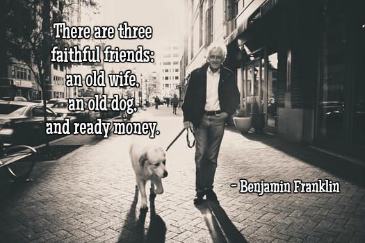 Do quote There are three faithful friends an old wife, an old dog, and ready money.