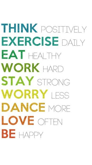 Eating quote Think positively; Exercise daily; Eat Healthy; Work Hard; Stay strong; Worry les