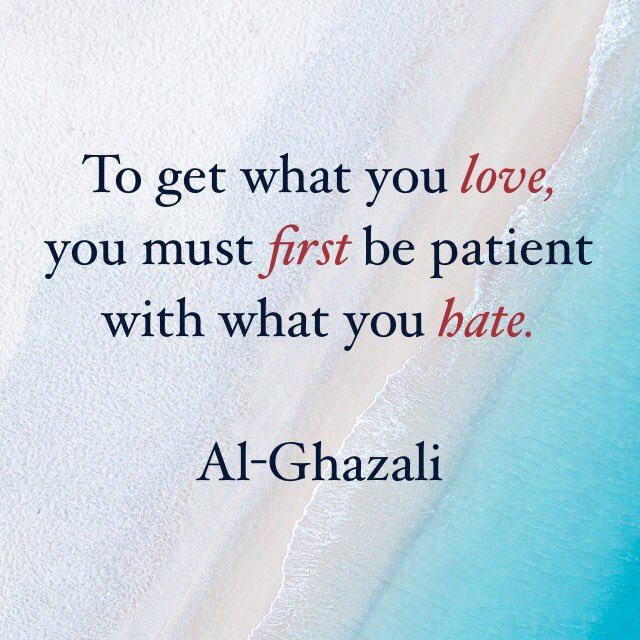 Love and hate quote To get what you love, you must first be patient with what you hate.