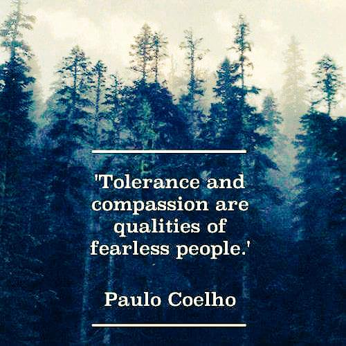 Tolerance and compassion are qualities of fearless people. - Paulo Coelho