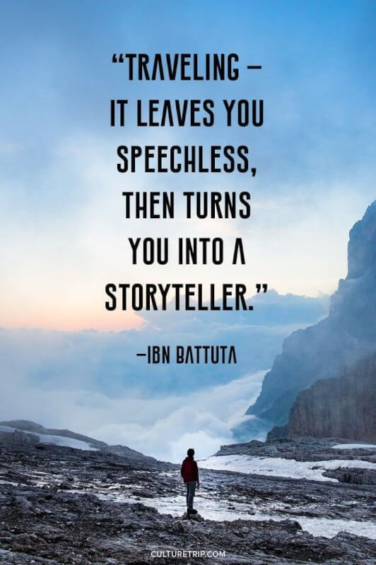Storytelling quote Traveling - It leaves you speechless, then turns you into a storyteller.