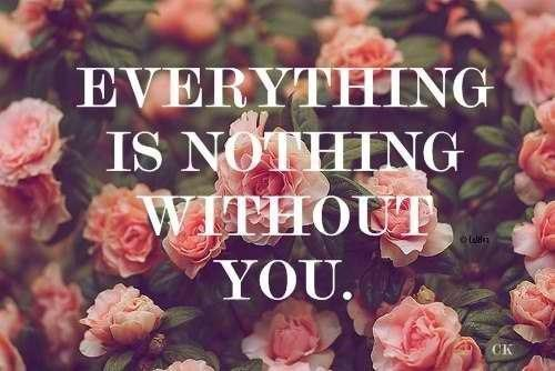 Without love quote Everything is nothing without you