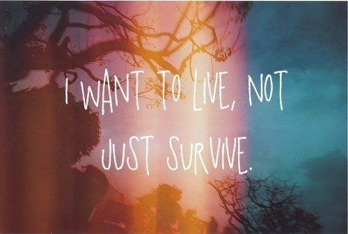 Survive quote I want to live, not just survive.
