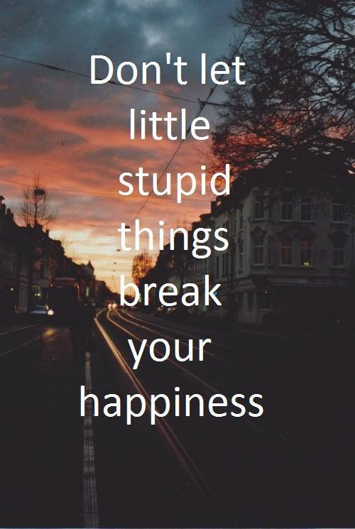 Break up quote Don't let little stupid things break your happiness